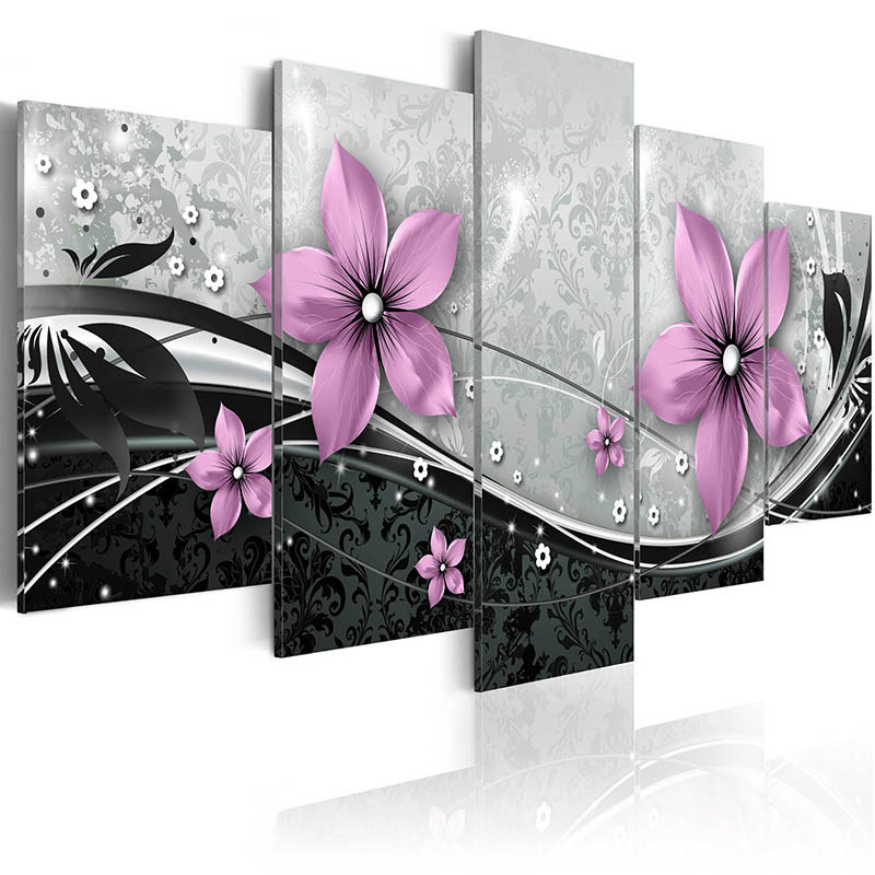 5 Pieces Colorful Flowers Poster Blush Pink Petal HD Print Wall Art Black Modern Canvas Painting For Living Room Home Decor
