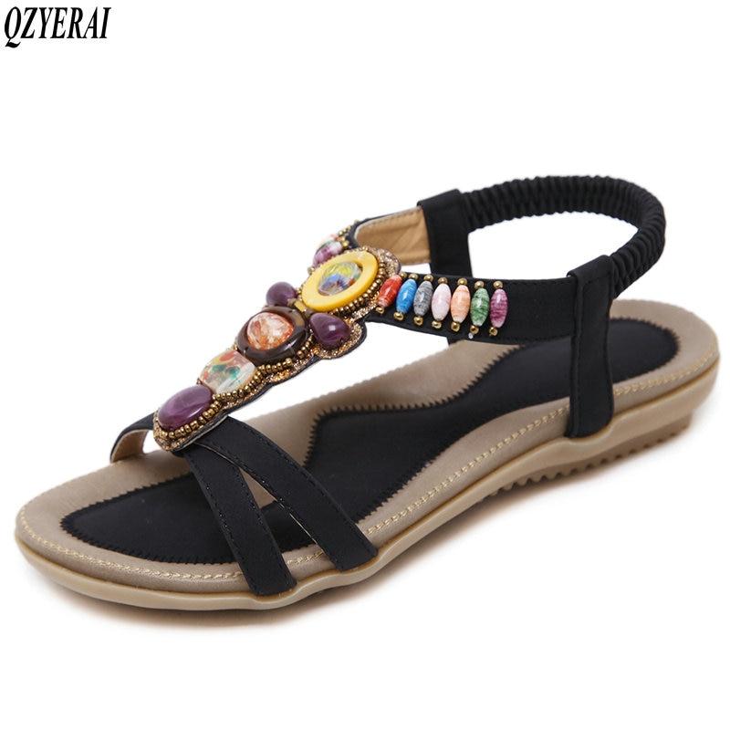 Size34 Femmes Casual noir Bijoux Sandales Beige Filles Confort Nouvelles Plates De 45 Qzyerai 2018 Chaussures zwFq8nHnP