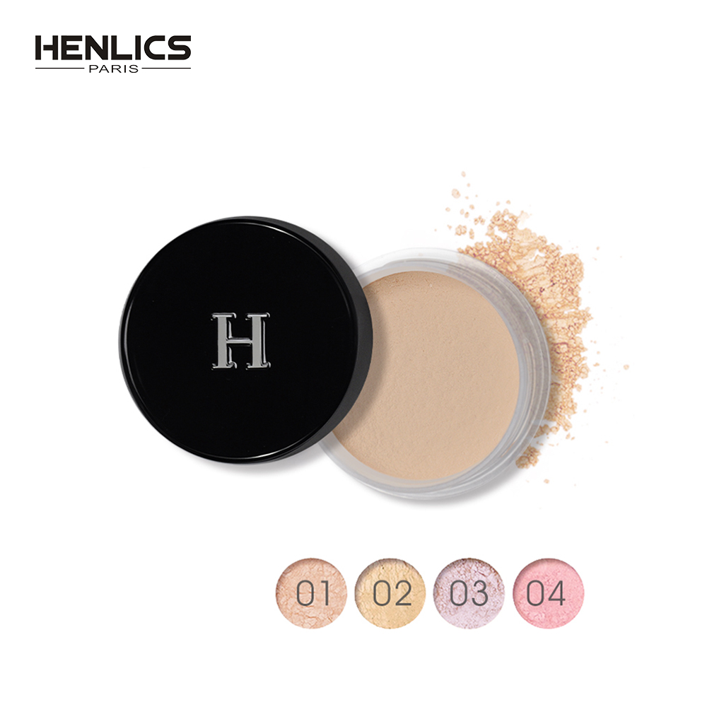 HENLICS Brand New Loose Powder Face Makeup Powder Foundation Waterproof Matte Powder Palette Contour Cosmetics Powder with Puff