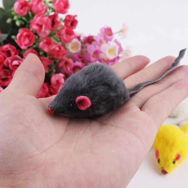 10Pcs/lot Rabbit Fur False Mouse Pet Cat Toys Feather Rainbow Ball Toy Cayts Mini Funny Playing Toys For Cats Kitten 2inch 3
