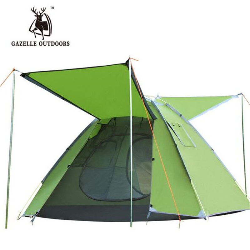 GAZELLE OUTDOORS Waterproof Single Layer 3-4 Person Outdoor Camping Tent Hiking Beach Tent Tourist Bedroom Travel dz032 outdoor camping hiking automatic camping tent 4person double layer family tent sun shelter gazebo beach tent awning tourist tent
