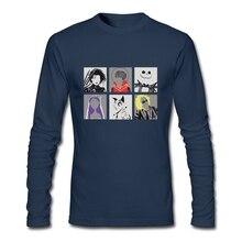 2016 Fashion Long Sleeve Screw Neck 100 % Cotton Burton Pop Art Grey Men's T Shirt Tops Cheap Teenage T Shirt