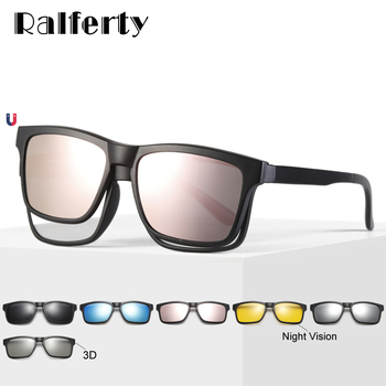 Ralferty Polarized Magnet Sunglasses Women Men Clip On Glasses Square Optic Myopia Spectacle Pink 6 In 1 Eyeglass Frames A2202