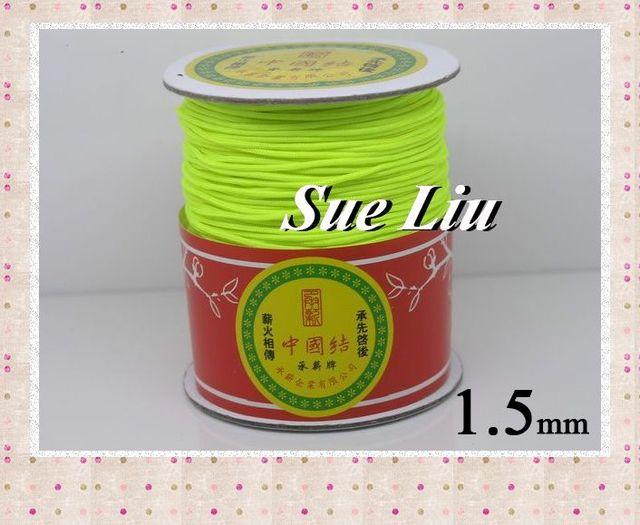 1.5mm Neon Yellow Chinese Knot Beading 100% Nylon Shamballa Cord (145M/158yds Spool), NCNB-F228