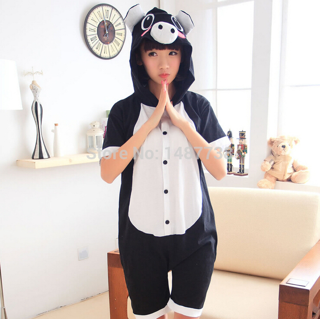 b8dd27a04b Black Pig Adult Animal Onesie Pajamas Unisex 100% Cotton Pyjamas Short  Sleeve Summer Nightgowns Sleepwear Nightdress