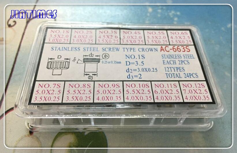 Inoxidável tipo Parafuso Coroa para Reparação o Envio Gratuito de 1 Conjunto Prata Relógio 24 Peças no Total Cor Aço