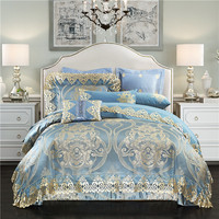 Luxury Royal Silk Satin Cotton Jacquard Bedding Sets Queen King Size 4 6 10pcs Wedding Bed