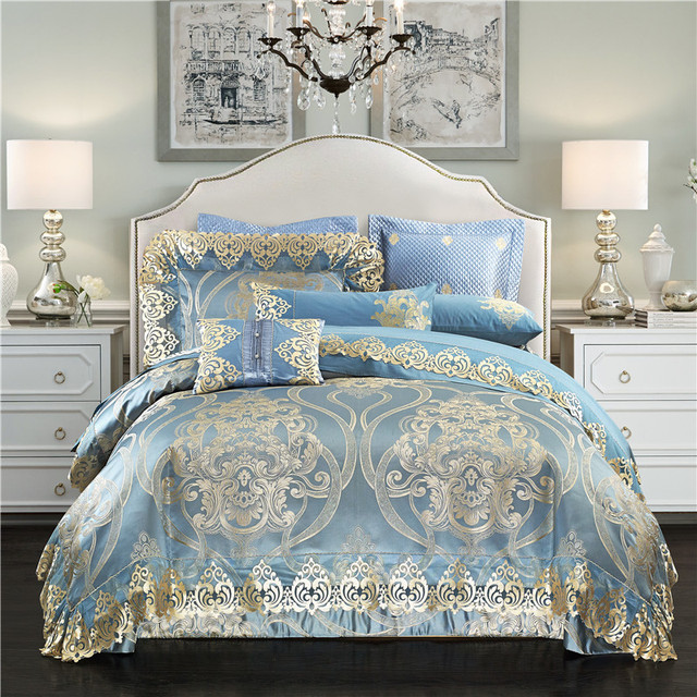 Silk Satin Cotton Jacquard Luxury Royal Bedding Set Queen/King Size Golden  Blue Bed Sheet