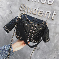 Cute creative suit shape small party bag chic personality female bag clothes shape small bag rivet chain Messenger bag