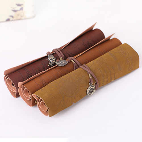 Hot Sale Retro Pirate Treasure Map Roll Up PU Leather  Pencil Case Pen Bags Make Up Holder Gift