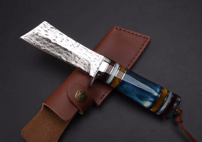 Buy Fine Handmade Forging Damascus Fixed Knives,Collection Camping Survival Knife,Hunting Knife. cheap