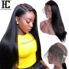 360 Lace Frontal Wig Brazilian Straight Hair 150% Density La