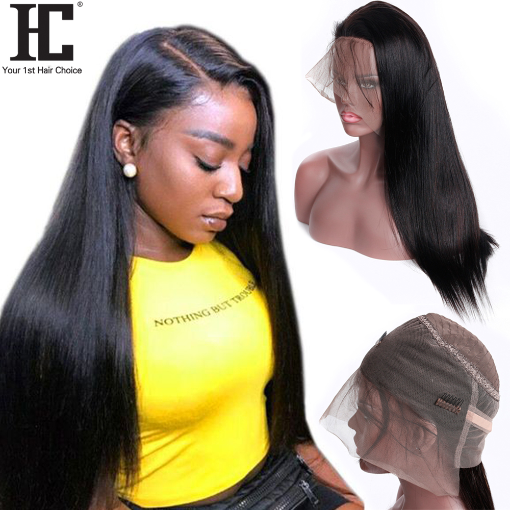 HC 360 Lace Frontal Wigs For Black Women 150% Density Brazilian Straight Hair Lace Frontal Human Hair Wigs With Baby Hair Remy