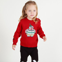 2016 Red Color Cute Snowman Girls Sweater Autumn Winter Kids Girls Christmas New Year Warm Clothing