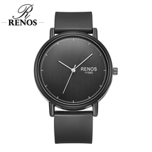 RENOS Women Watch Con Caja Simple Negro Blanco mujeres Ocasionales PU Banda de Cuarzo Reloj de Pulsera de Moda Unisex Envío de La Gota regalo