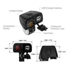 오토바이 듀얼 USB 충전기 전압계 온도계 휴대 전화/정제/GPS 더블 USB 소켓 온도계, 전압계