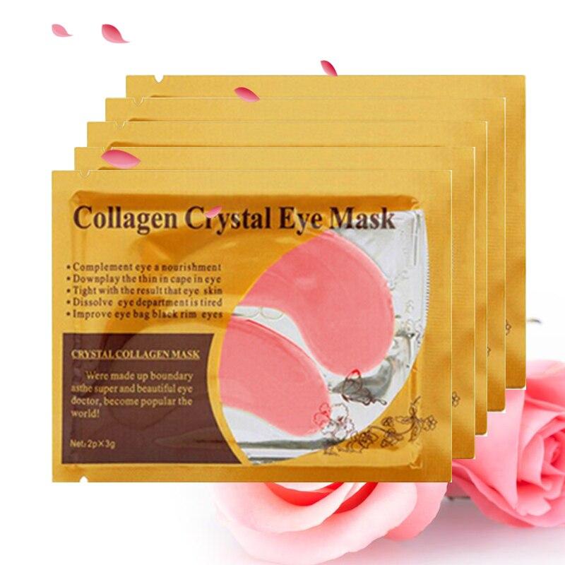 Pcs = 10 5 packs Máscara de Olho Máscara de Cristal Colágeno Máscara Olhos Patches para Cuidados Com Os Olhos Anti-inchaço Da Pálpebra almofadas de Patch Anti-Rugas máscara de Olho do Gel