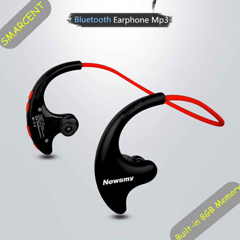 SMARCENT Hifi MP3 Music Player Stereo Bluetooth Headset Wireless Headphones Bluetooth 4.2 Earphone Mic MP3 Built-in 8GB Memory image