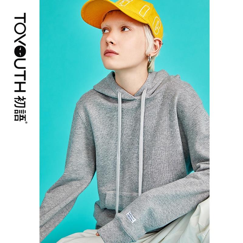 Toyouth New Autumn Fashion Casual Women Sweatshirts Korean Solid Cotton Hoodies Basic Female Tops Capuche Femme Sweatshirt