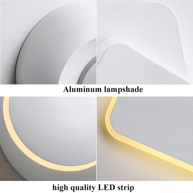 Image 5 - White black body Wall Lamps for Bedroom living room square  AC90 260V Indoor Led Wall Light Rotatable Plated Metal 5W/16W SconceLED Indoor Wall Lamps   -