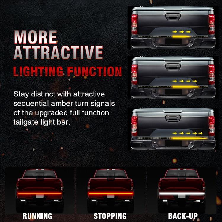 Okeen12v New 60 Triple Row 5 Function Truck Tailgate Light Bar With Amber Turn Signal Red Brake Running White Reverse Lights