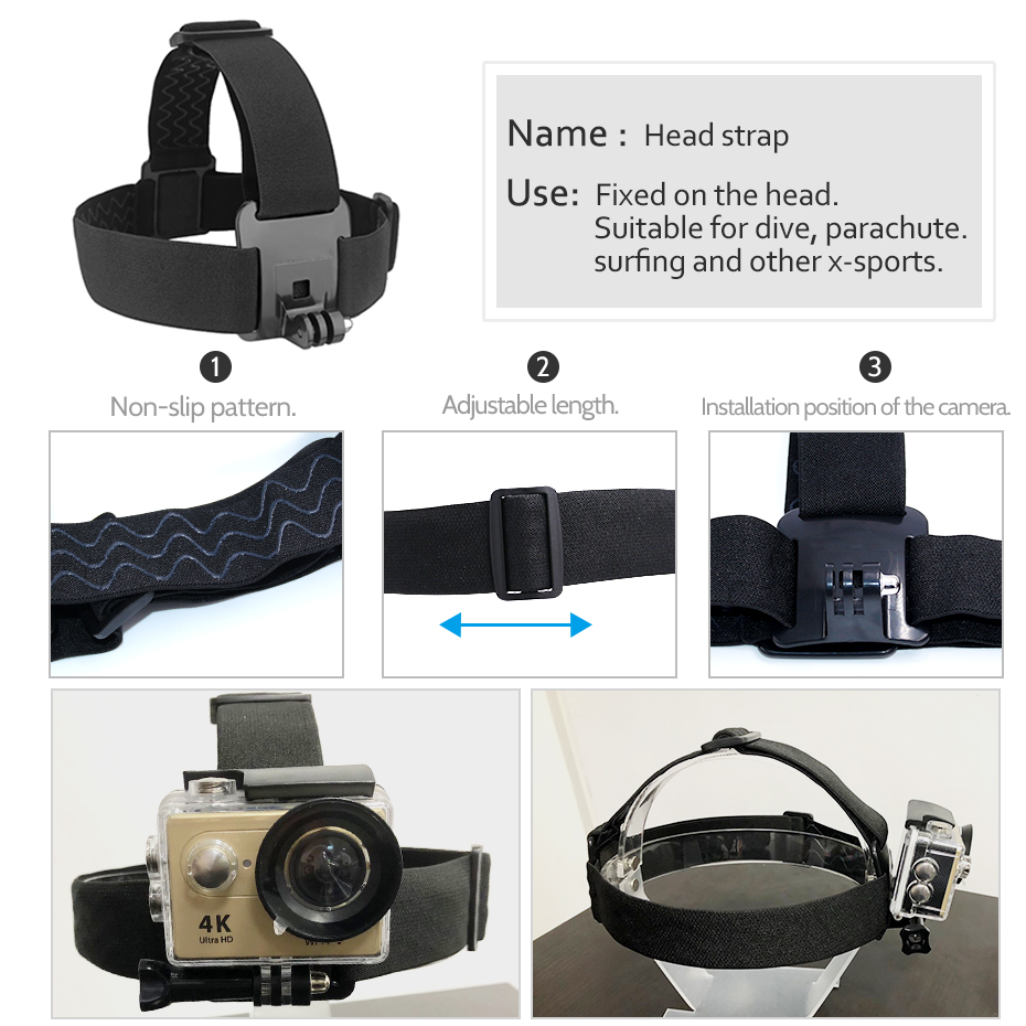 for Go Pro Mount Belt Adjustable Head Strap Band Session for Gopro Hero 6/5/4/3 SJCAM Xiaomi Yi 4k Action Camera Accessories-2