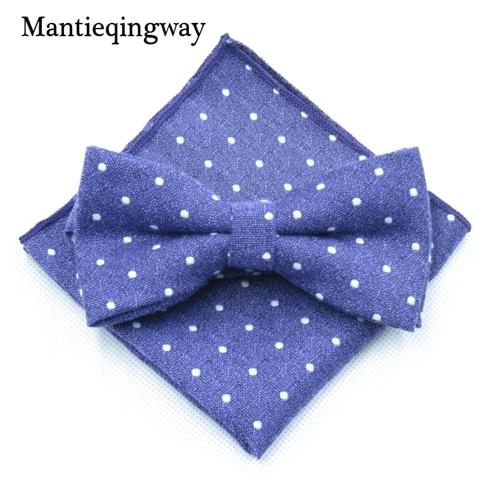 Mantieqingway мужской хлопчатобумажный галстук-бабочка носовой платок набор бизнес костюмы бантики точка карман квадратное полотенце для сундуков Hankies для свадьбы - Цвет: MYBZZ054PL