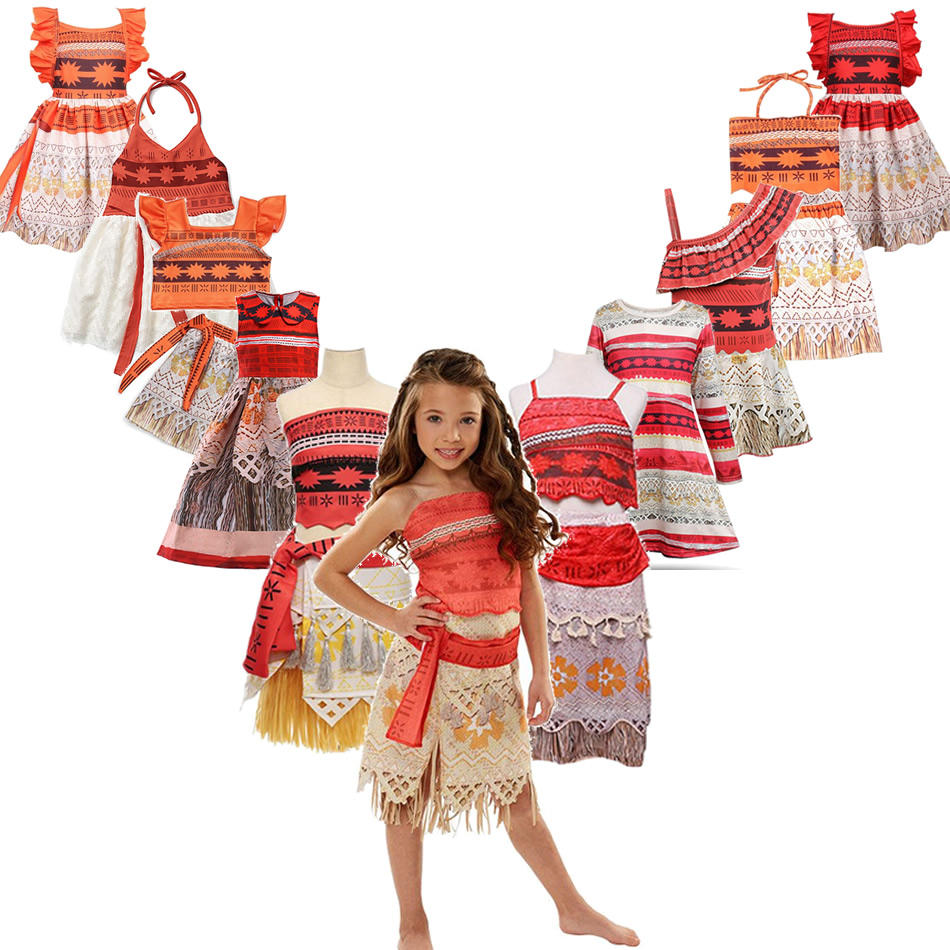 Cosplay Dress Outfits Costumes Moana Acessories Holiday Fancy Baby-Girl Children