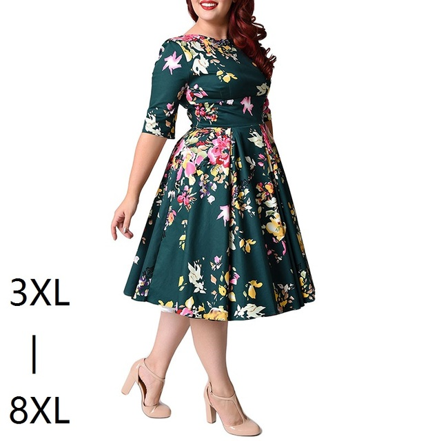 Large Size 6XL 7XL 8XL Women Dress Vintage Zipper Floral Printed Tunic Big Swing Dress Plus Size Dresses For Women 4XL 5XL 6XL