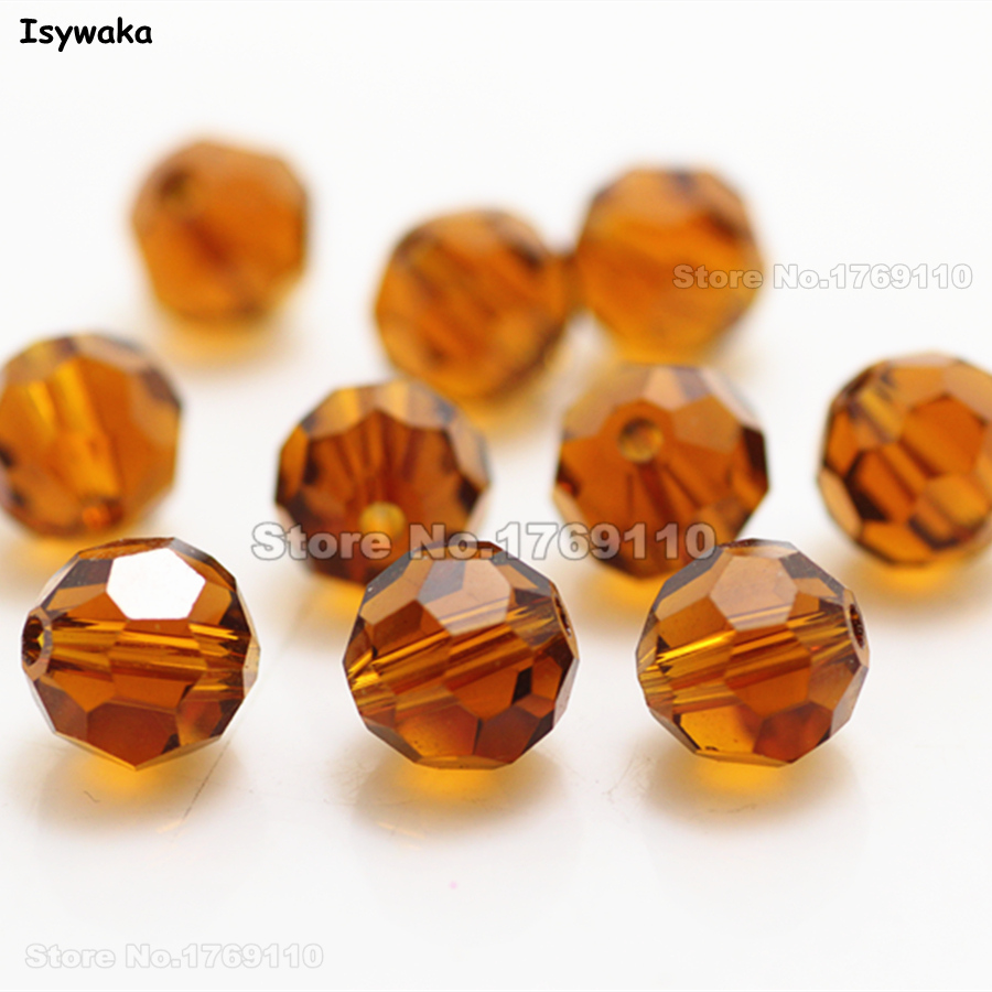 Isywaka 8mm 70Pcs Deep Brown Color Football Faceted Austrian Crystal Beads Round Glass Spacer Loose beads DIY Jewelry Making