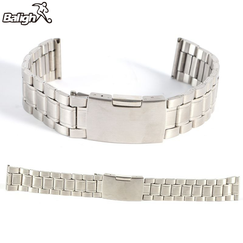 /est / Hot Leisure Watchbands Stainless Steel Unisex Watch Band Strap Straight Snaps Bracelet 18mm 20mm 22mm