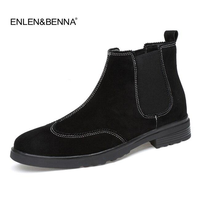 2018 Büyük Boy Erkekler Ayak Bileği Boots Yüksek Kalite Gerçek Deri Erkekler Chelsea Çizme Siyah Erkekler Için Nedensel Ayakkabı Lastik Çizme Elbise Ayakkabı