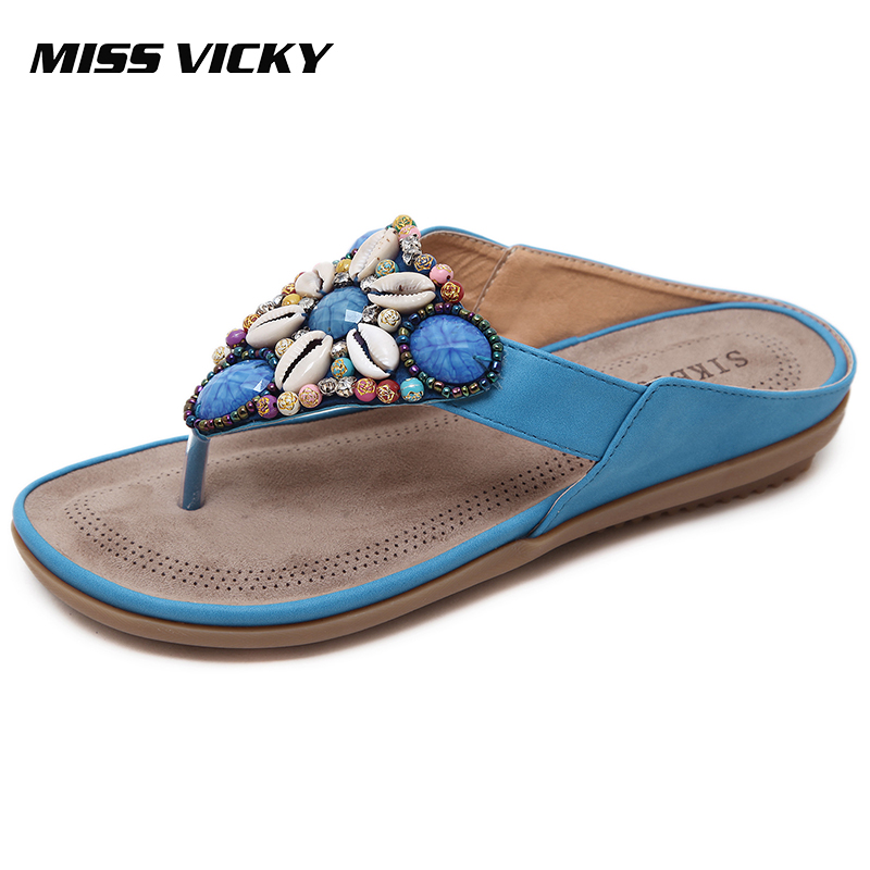 MISS VICKY 2019 New Summer Casual Womens Slippers Bohemian Ethnic Style Outdoor Beach Shoes