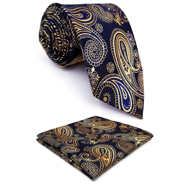 36743337abb9 U10 Paisley Gold Blue Navy Mens Neckties Extra Long Size Matching Hanky100%  Silk Casual Dress Men Ties Designers Fashion 63