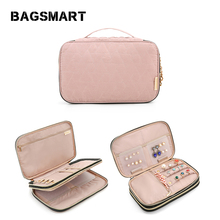 BAGSMART Women Travel Bags Double Layer Jewelry Holder Neckl