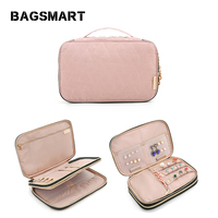 BAGSMART Women Travel Bags Double Layer Jewelry Holder Necklace Bracelet Earring Ring Watch Pouch Bag Jewelry Organizer Cases
