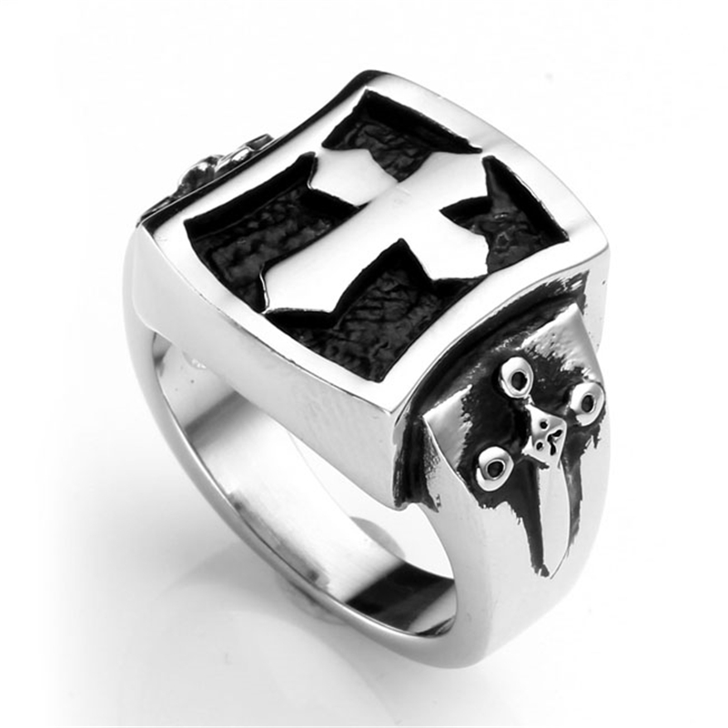 JOVIVI 1pc Mens Stainless Steel Punk Rock Vintage Gothic Latin Cross Claw Biker Ring US #10-12 Fashion Cross Finger Ring Jewelry