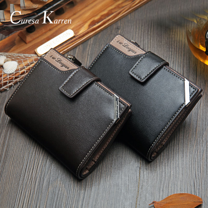 Short Vertical Locomotive British Casual Multi-function Card Bag Zipper Buckle Triangle Folding New Korean Casual Men's Wallet