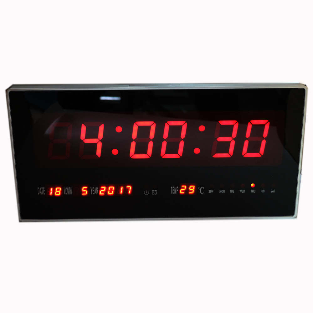 Large LED Digital Wall Clock Hourly Chime Electronic Alarm Clock