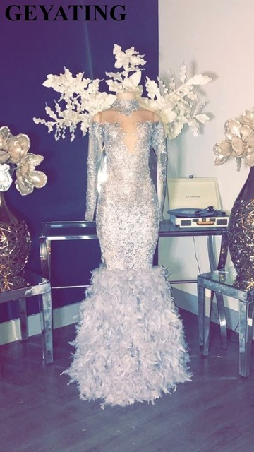Silver Lace Long Sleeve Mermaid Prom Dresses with Feathers Skirt Sheer Plus Size African Formal Evening Gowns 2019 Gala Dress