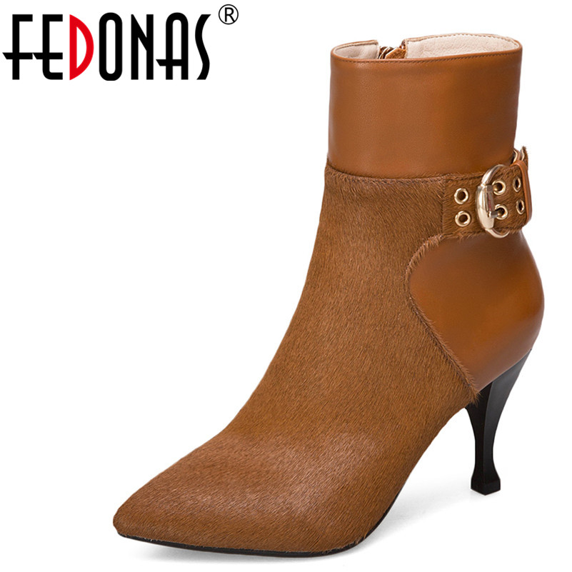 цена на FEDONAS 1Fashion Women Ankle Boots Horse Hair Autumn Winter Warm High Heels Shoes Woman Elegant Pointed Toe Buckle Quality Boots