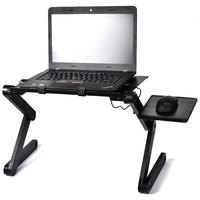 Portable Folding Aluminum Alloy Bed Laptop Table Adjustable Notebook Stand Desk With Mouse Pad With Double Small Cooling Fans