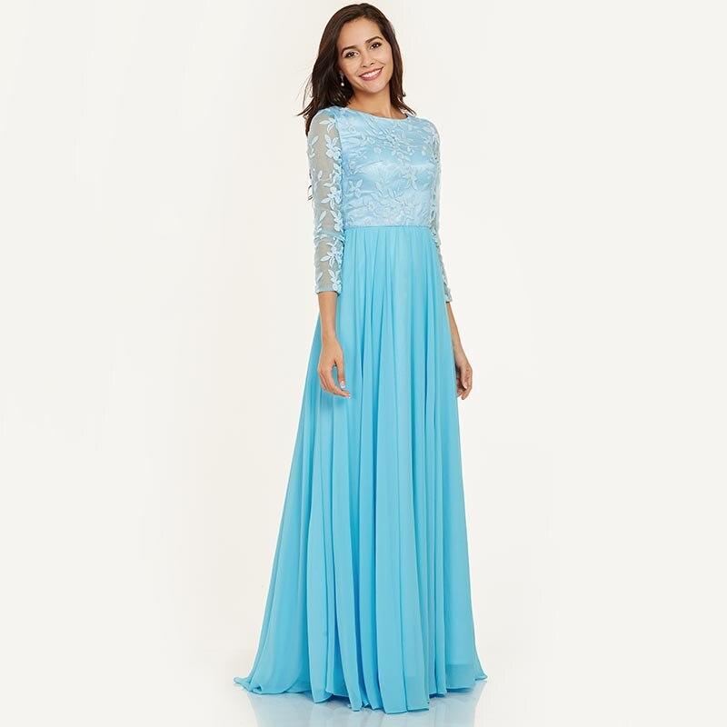 Tanpell duga večernja haljina led plava bateau vrat puna rukavima - Haljina za posebne prigode - Foto 6
