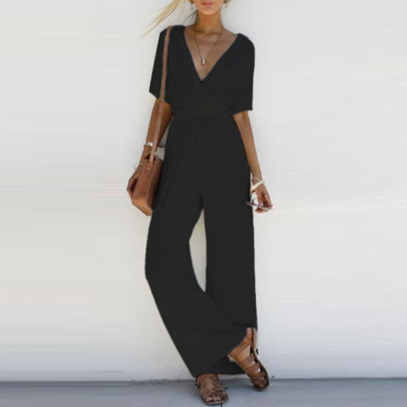 Women V Neck Solid Loose Jumpsuit Romper Short Sleeve Long Pants S-XL