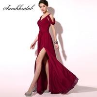 2018 Eenvoudige Plooi Bourgondië Prom Dresses Goedkope Lange Chiffon A-lijn Cap Mouw Lace Up Sexy Slit Avondfeest Jassen OS186