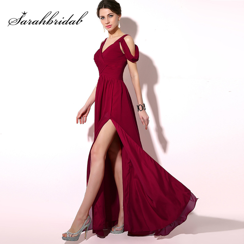 2018 Simple Pleat Burgundy   Prom     Dresses   Cheap Long Chiffon A-Line Cap Sleeve Lace Up Back Sexy Slit Evening Party Gowns OS186