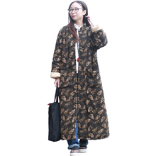 LZJN Winter Jacket Women Long Coats Plus Size Thin Quilted Trenchcoat Vintage Parka Leaves Jackets Manteau Femme Hiver PX1486