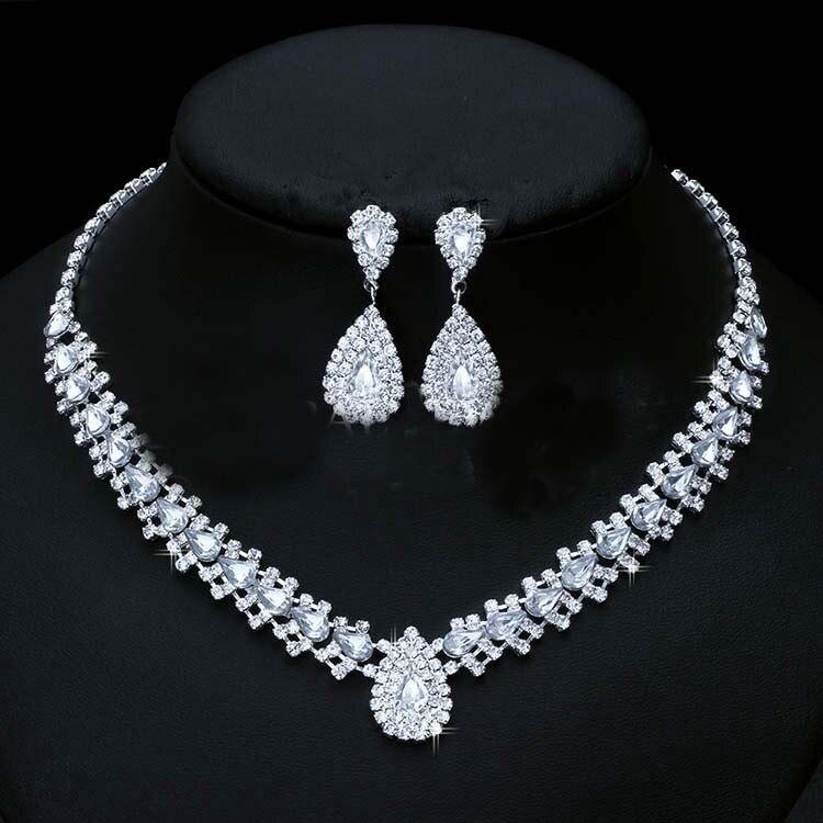 Bijoux De Mariage Luxueux, Goutte Boucle D'oreille Collier Ensemble Autriche Cristal,