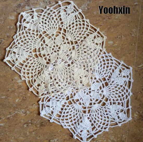 HOT ren bông ra mat bảng pad Vải crochet placemat cốc cốc cốc trà cà phê coaster Vòng ăn đám cưới vải lau tay nhà bếp
