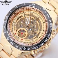 Winner New Number Sport Design Bezel Golden Watch Mens Watches Top Brand Luxury Clock Men Automatic